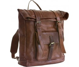 Medina Cognac Leather Backpack FRONT