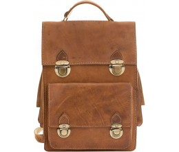 Heritage Caramel Leather Convertible Bag FRONT