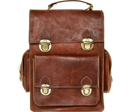 Heritage Cognac Leather Convertible Bag FRONT