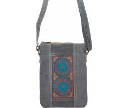 Slate Gray Embroidered Canvas Crossbody