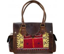 Brown Leather & Vintage Fabric Shoulder Bag