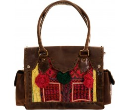 Brown Leather & Vintage Fabric Shoulder Bag