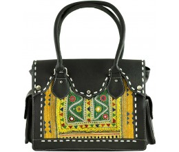 Black Leather & Vintage Beaded Fabric Shoulder Bag