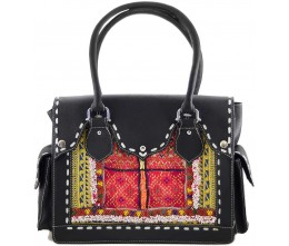 Black Leather & Vintage Beaded Fabric Shoulder Bag
