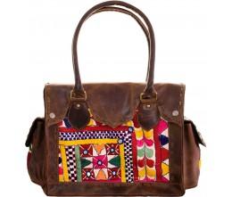 Brown Leather & Artisan Fabric Shoulder Bag