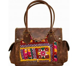 Brown Leather & Artisan Fabric Shoulder Bag