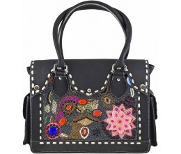 Hand-embroidered Leather Bag
