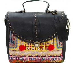 Studded Leather & Vintage Fabric Laptop Bag