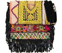 Black Boho Chic Fringed Messenger Bag
