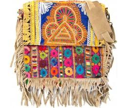 Camel-color Boho Chic Fringed Messenger Bag FRONT