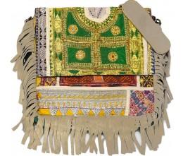 Taupe Boho Chic Fringed Messenger Bag