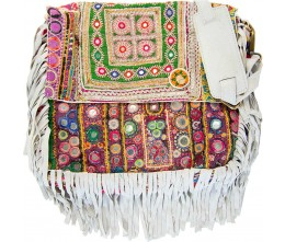 Taupe Boho Chic Fringed Messenger Bag FRONT