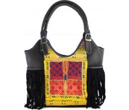 Black Leather & Vintage Fabric Fringed Bag