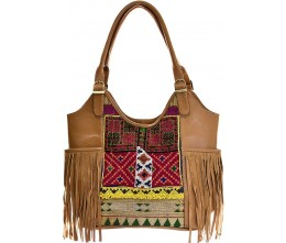 Tan Leather & Vintage Fabric Shoulder Bag with Fringe