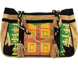 Suede Camel & Black Tote Bag