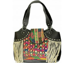 Black Leather & Vintage Fabric Bag w/Taupe Fringe