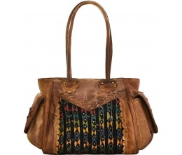 Dyed Leather Satchel w/Vintage Fabric