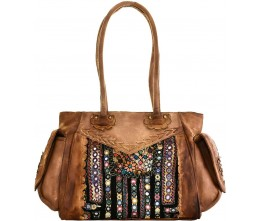 Dyed Leather Satchel with Vintage Fabric
