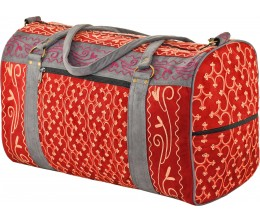 Red & Gray Embroidered Suede Weekend Travel Bag Handcrafted in Nepal