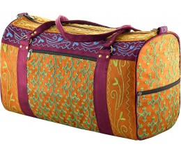 Wine & Camel Embroidered Suede Weekend Travel Bag Handcrafted in Nepal