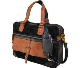 Suede & Leather Black Messenger/Laptop Bag