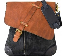 Suede & Leather Unisex Black Crossbody Bag