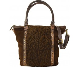 Vintage Suede Tote with Center Embossed Panel