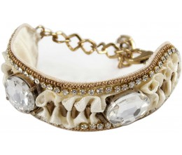 Antique White Ivory Ribbon Bracelet w/Clear Crystals
