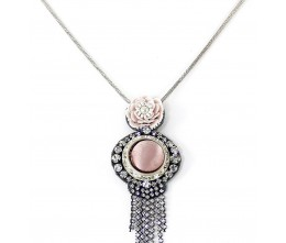 Eternal Rose Necklace w/Crystal-Fringed Detachable Brooch