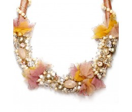 Pearl Necklace w/Pink & Yellow Floral Spray