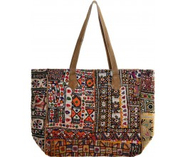 Vintage Fabric & Suede Oversized Tote