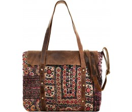 Vintage Fabric & Leather Bag with Cushion Insert