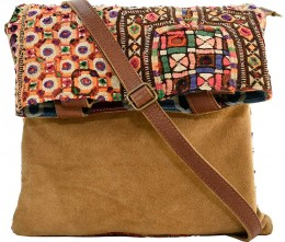 Vintage Fabric & Suede Crossbody