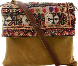 Vintage Fabric & Suede Crossbody