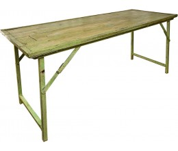 Green Vintage Wood w/Heavy Duty Steel Frame Folding Table