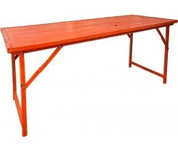 Orange Vintage Wood w/Heavy Duty Steel Frame Folding Table