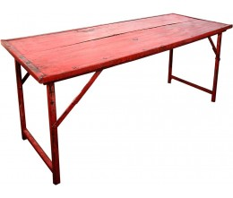 Red Vintage Wood w/Heavy Duty Steel Frame Folding Table