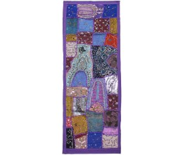 Violet Vintage Fabric Hand-Beaded Rectangular Table Runner