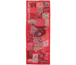 Scarlet Vintage Fabric Hand-Beaded Rectangular Table Runner