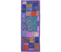 Lilac Vintage Fabric Hand-Beaded Rectangular Table Runner