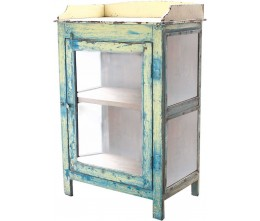 Azure & Yellow Glass-door Cabinet