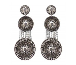 Vintage Inspired Rhinestone Disc Earrings
