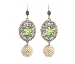 Vintage Inspired White Green Beaded Drop Earrings
