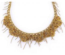 Unique Gold Tone Multi Strand Costume Necklace