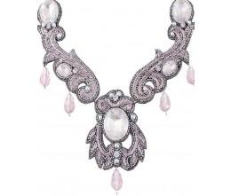 Unique Pink Rhinestone Beaded Necklace
