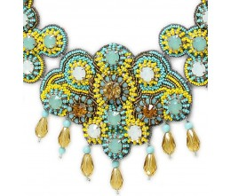 Zellige Blue and Yellow Bib Necklace